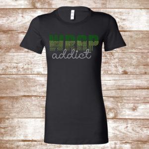 b8e0603cf493f Wrap Addict Bling Shirt -Wrap Addict Fade Bling Shirt – Rhinestone Shirt –  Green and Crystal Bling Shirt – Wrap Lady Shirt – Plus size shirt
