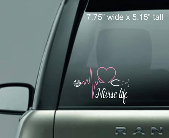 Nurse life decal car decal car monogram sticker for Custom vinyl windows online