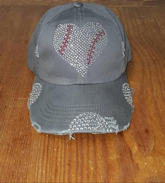 36e1ae10951a5 Baseball Mom Heart Bling Hat - Baseball Bling Hat - Distressed ...